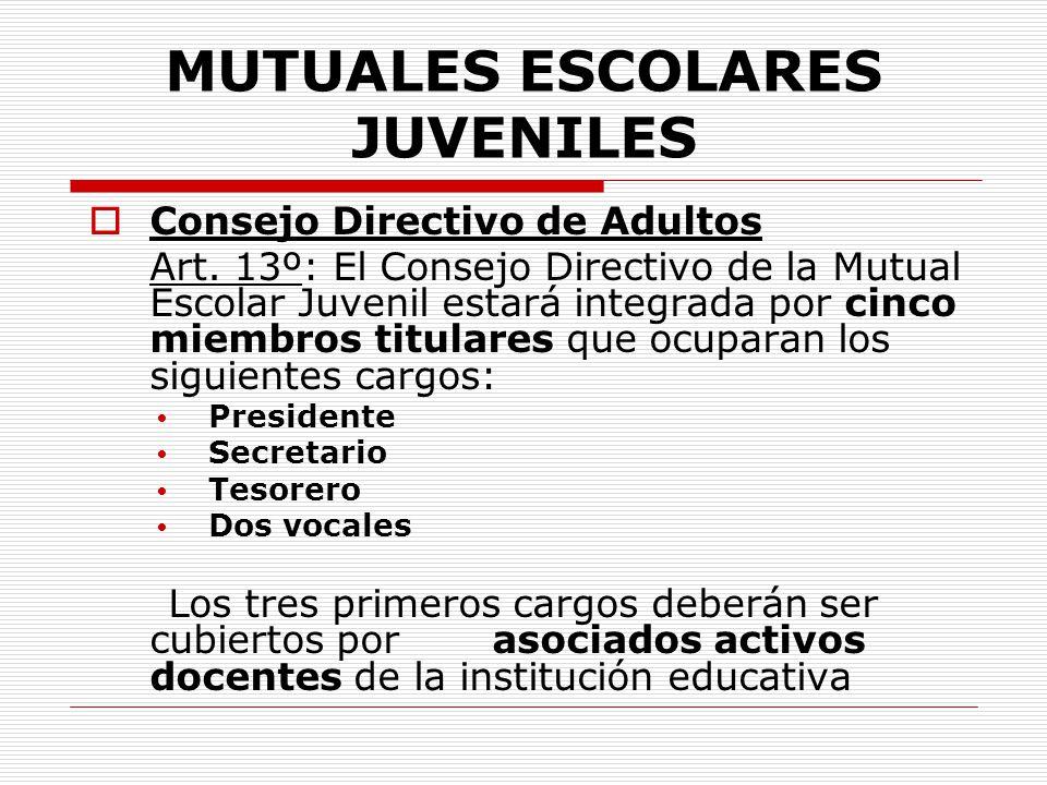 MUTUALES ESCOLARES JUVENILES Consejo Directivo de Adultos Art. 13º: El Consejo Directivo de la Mutual Escolar Juvenil estará integrada por cinco miemb