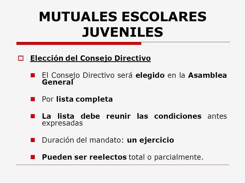 MUTUALES ESCOLARES JUVENILES Elección del Consejo Directivo El Consejo Directivo será elegido en la Asamblea General Por lista completa La lista debe