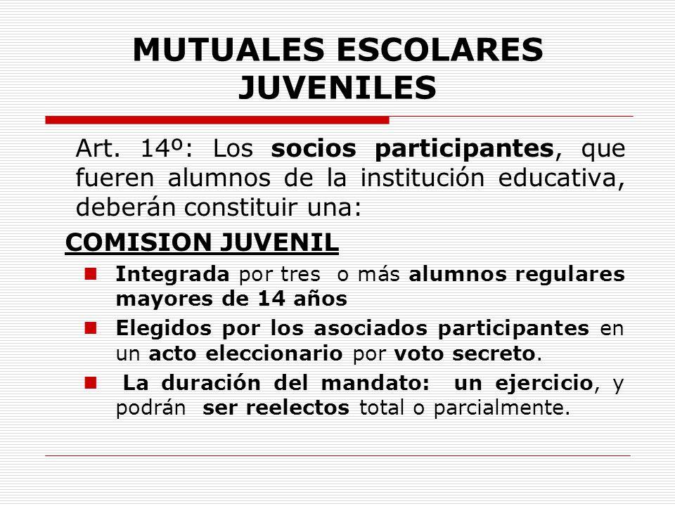 MUTUALES ESCOLARES JUVENILES Art. 14º: Los socios participantes, que fueren alumnos de la institución educativa, deberán constituir una: COMISION JUVE