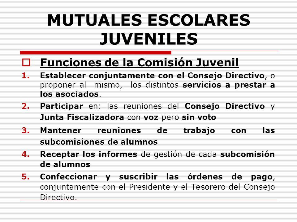 MUTUALES ESCOLARES JUVENILES Funciones de la Comisión Juvenil 1.Establecer conjuntamente con el Consejo Directivo, o proponer al mismo, los distintos