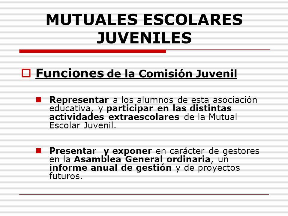 MUTUALES ESCOLARES JUVENILES Funciones de la Comisión Juvenil Representar a los alumnos de esta asociación educativa, y participar en las distintas ac