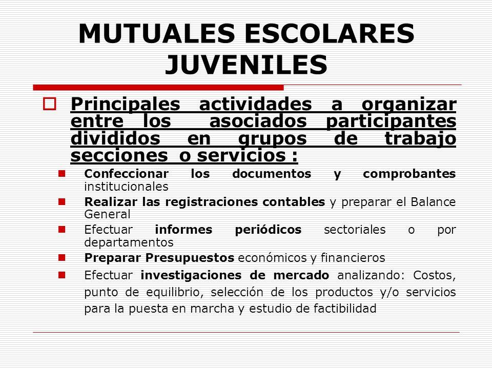 MUTUALES ESCOLARES JUVENILES Principales actividades a organizar entre los asociados participantes divididos en grupos de trabajo secciones o servicio