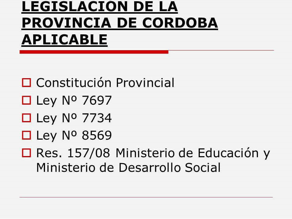 LEGISLACIÓN DE LA PROVINCIA DE CORDOBA APLICABLE Constitución Provincial Ley Nº 7697 Ley Nº 7734 Ley Nº 8569 Res. 157/08 Ministerio de Educación y Min