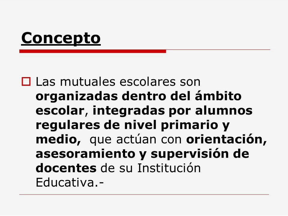 Concepto Las mutuales escolares son organizadas dentro del ámbito escolar, integradas por alumnos regulares de nivel primario y medio, que actúan con