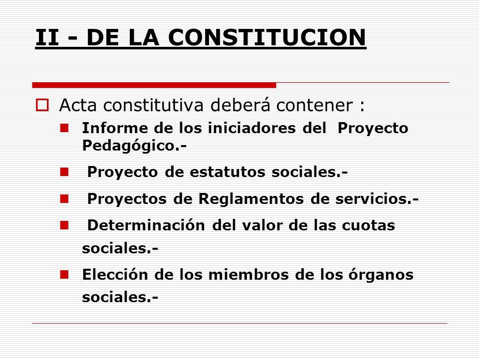 II - DE LA CONSTITUCION Acta constitutiva deberá contener : Informe de los iniciadores del Proyecto Pedagógico.- Proyecto de estatutos sociales.- Proy