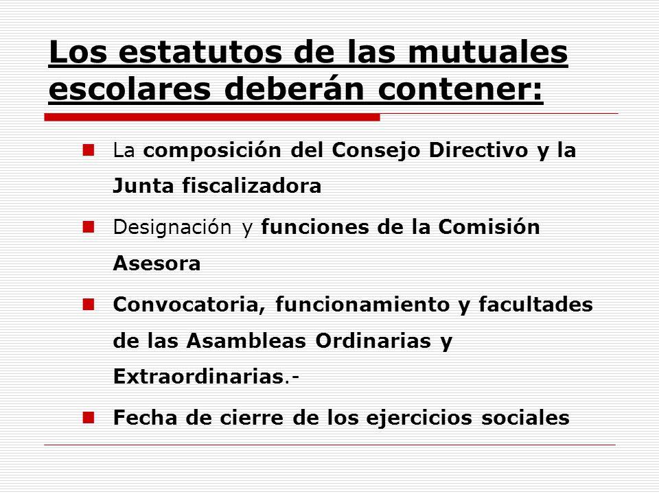 Los estatutos de las mutuales escolares deberán contener: La composición del Consejo Directivo y la Junta fiscalizadora Designación y funciones de la
