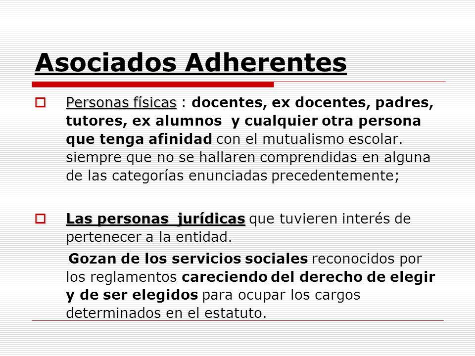 Asociados Adherentes Personas físicas Personas físicas : docentes, ex docentes, padres, tutores, ex alumnos y cualquier otra persona que tenga afinida