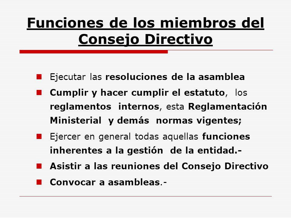 Funciones de los miembros del Consejo Directivo Ejecutar las resoluciones de la asamblea Cumplir y hacer cumplir el estatuto, los reglamentos internos