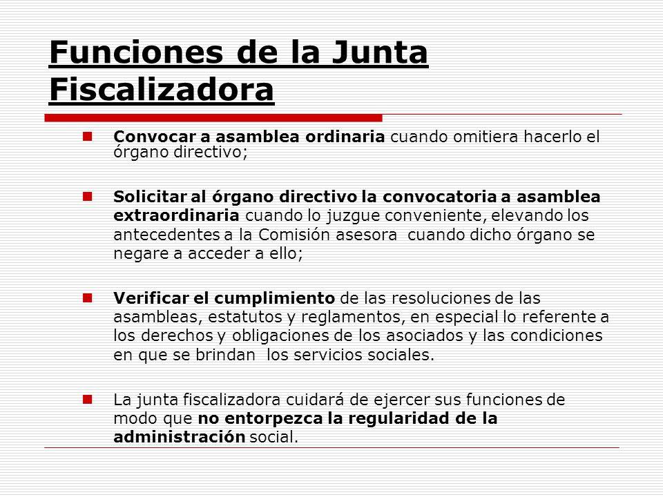 Funciones de la Junta Fiscalizadora Convocar a asamblea ordinaria cuando omitiera hacerlo el órgano directivo; Solicitar al órgano directivo la convoc