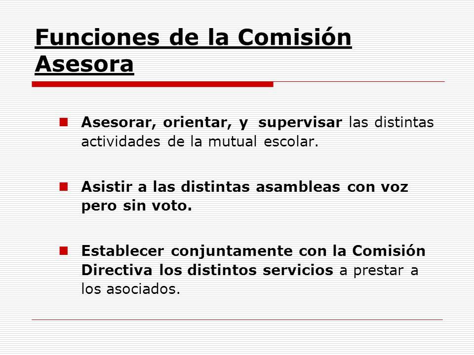 Funciones de la Comisión Asesora Asesorar, orientar, y supervisar las distintas actividades de la mutual escolar. Asistir a las distintas asambleas co
