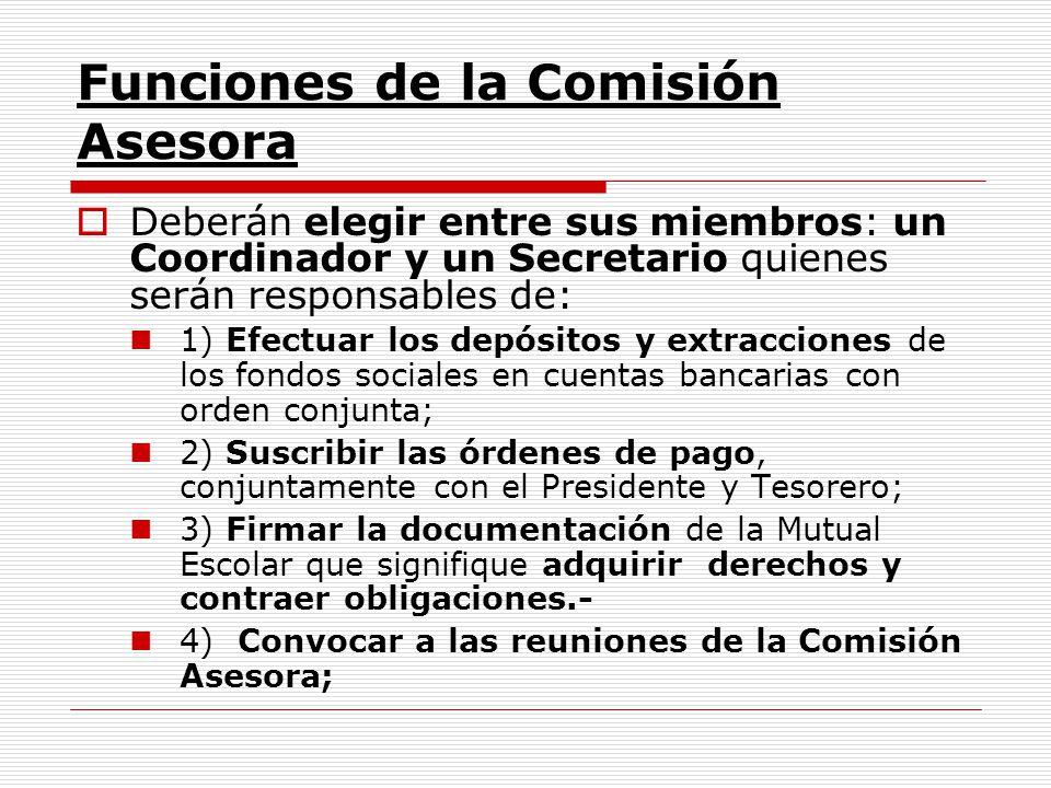 Funciones de la Comisión Asesora Deberán elegir entre sus miembros: un Coordinador y un Secretario quienes serán responsables de: 1) Efectuar los depó