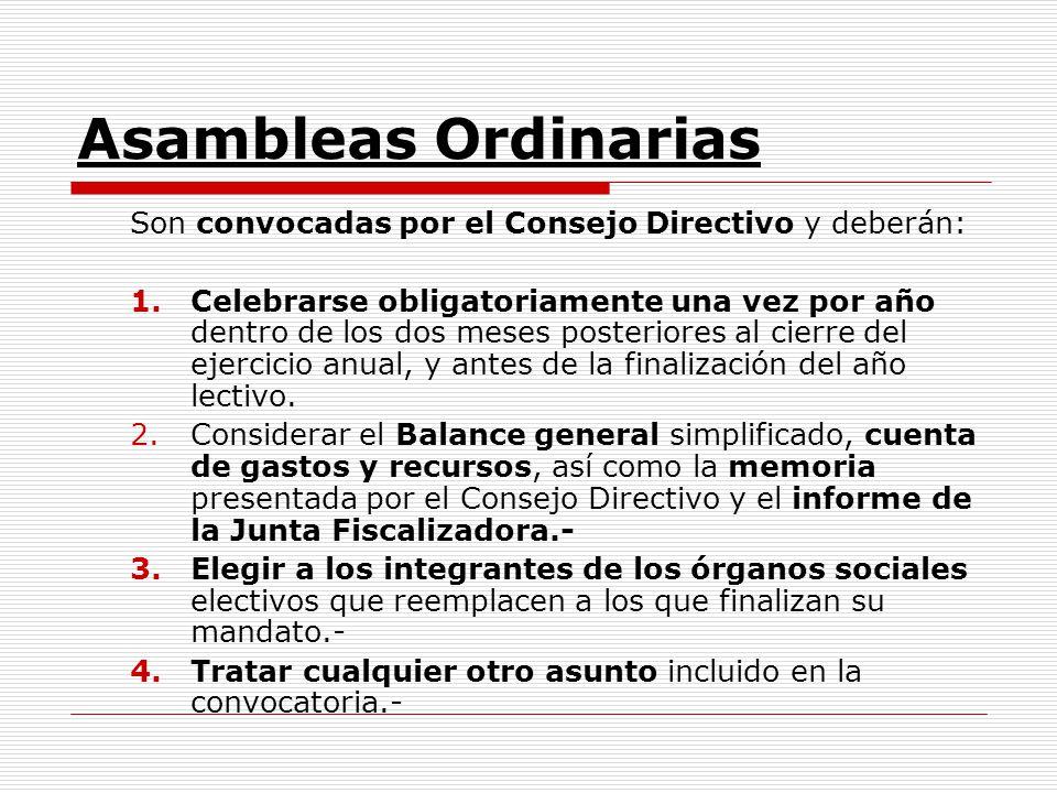 Asambleas Ordinarias Son convocadas por el Consejo Directivo y deberán: 1.Celebrarse obligatoriamente una vez por año dentro de los dos meses posterio