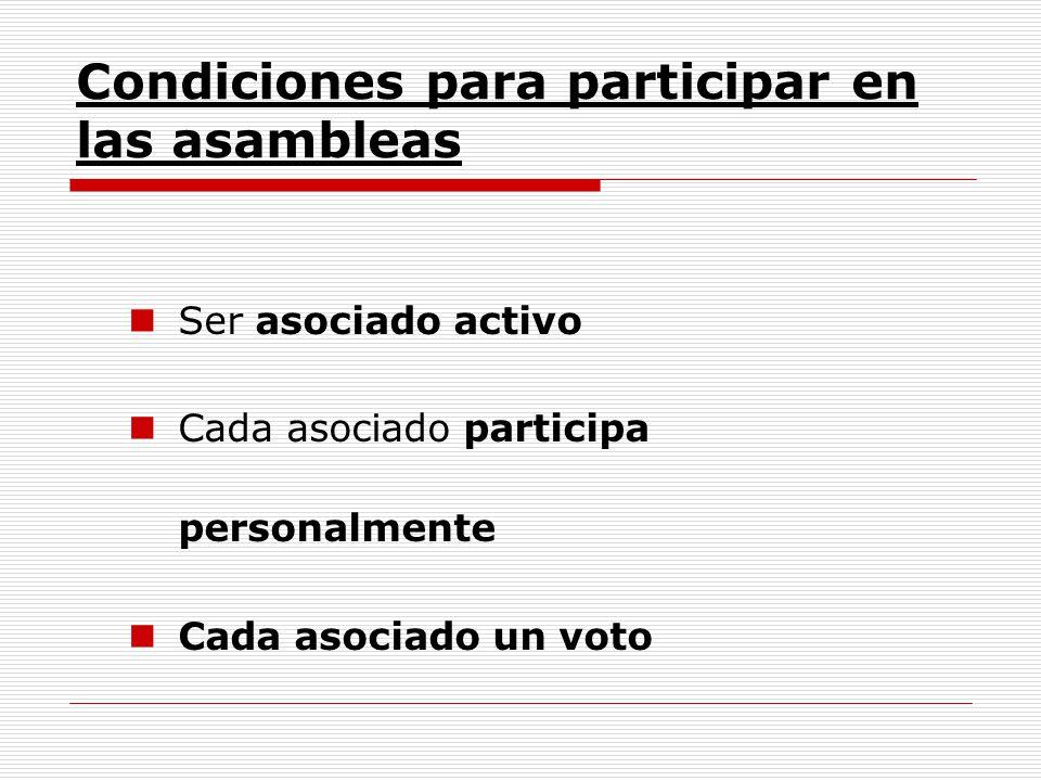 Condiciones para participar en las asambleas Ser asociado activo Cada asociado participa personalmente Cada asociado un voto