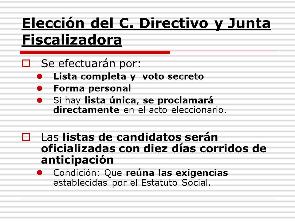 Elección del C. Directivo y Junta Fiscalizadora Se efectuarán por: Lista completa y voto secreto Forma personal Si hay lista única, se proclamará dire