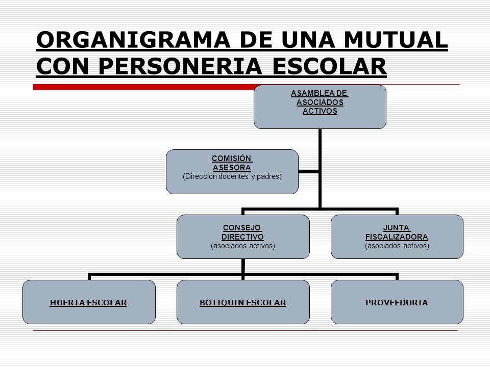 ORGANIGRAMA DE UNA MUTUAL CON PERSONERIA ESCOLAR ASAMBLEA DE ASOCIADOS ACTIVOS CONSEJO DIRECTIVO (asociados activos) HUERTA ESCOLARBOTIQUIN ESCOLARPRO