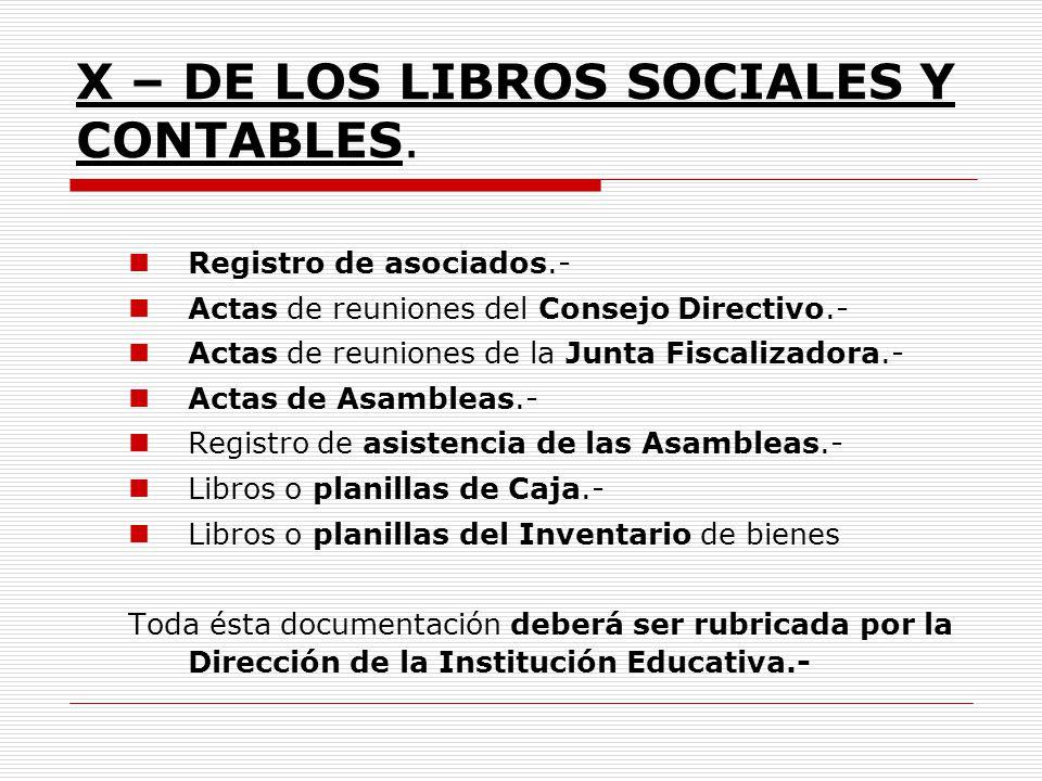 X – DE LOS LIBROS SOCIALES Y CONTABLES. Registro de asociados.- Actas de reuniones del Consejo Directivo.- Actas de reuniones de la Junta Fiscalizador