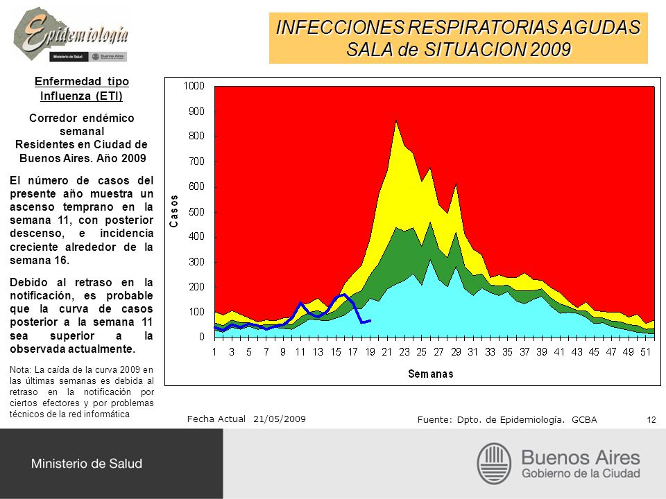 INFECCIONES RESPIRATORIAS AGUDAS SALA de SITUACION 2009 Fecha Actual 21/05/2009 Fuente: Dpto. de Epidemiología. GCBA Enfermedad tipo Influenza (ETI) C