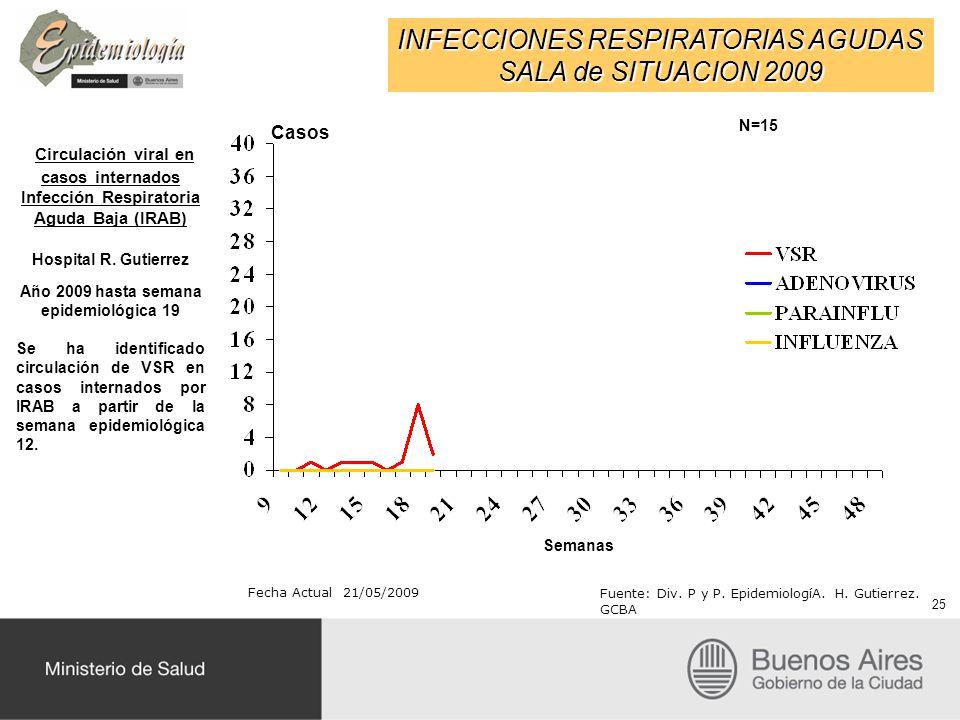 INFECCIONES RESPIRATORIAS AGUDAS SALA de SITUACION 2009 Fecha Actual 21/05/2009 Fuente: Div. P y P. EpidemiologíA. H. Gutierrez. GCBA Circulación vira
