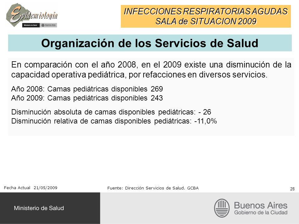 En comparación con el año 2008, en el 2009 existe una disminución de la capacidad operativa pediátrica, por refacciones en diversos servicios. Año 200