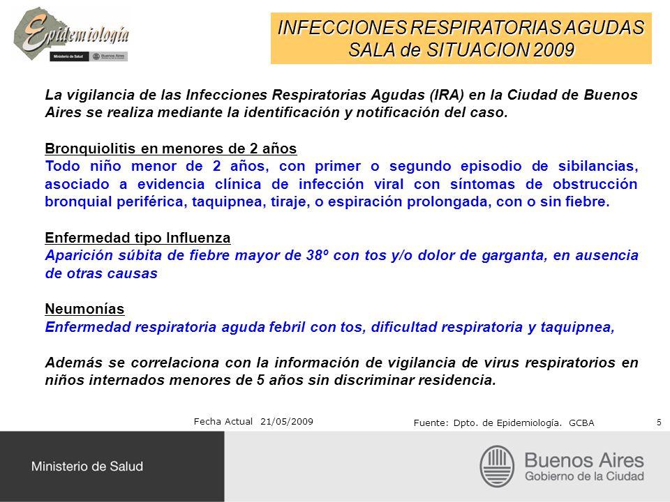 INFECCIONES RESPIRATORIAS AGUDAS SALA de SITUACION 2009 Fecha Actual 21/05/2009 Fuente: Dpto. de Epidemiología. GCBA La vigilancia de las Infecciones