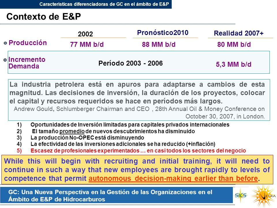 GC: Una Nueva Perspectiva en la Gestión de las Organizaciones en el Ámbito de E&P de Hidrocarburos Contexto de E&P 77 MM b/d Pronóstico2010 2002 Incre