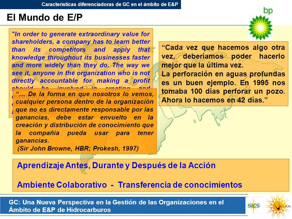 GC: Una Nueva Perspectiva en la Gestión de las Organizaciones en el Ámbito de E&P de Hidrocarburos El Mundo de E/P