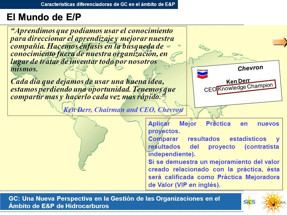 GC: Una Nueva Perspectiva en la Gestión de las Organizaciones en el Ámbito de E&P de Hidrocarburos El Mundo de E/P Ken Derr CEO Knowledge Champion Che