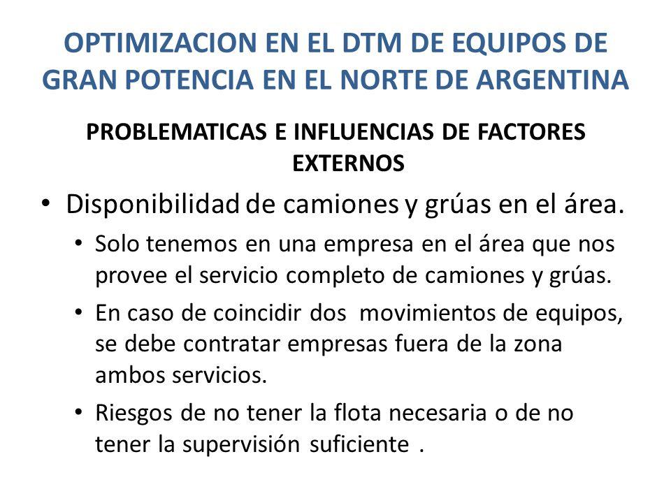 OPTIMIZACION EN EL DTM DE EQUIPOS DE GRAN POTENCIA EN EL NORTE DE ARGENTINA PROBLEMATICAS E INFLUENCIAS DE FACTORES EXTERNOS Disponibilidad de camiones y grúas en el área.