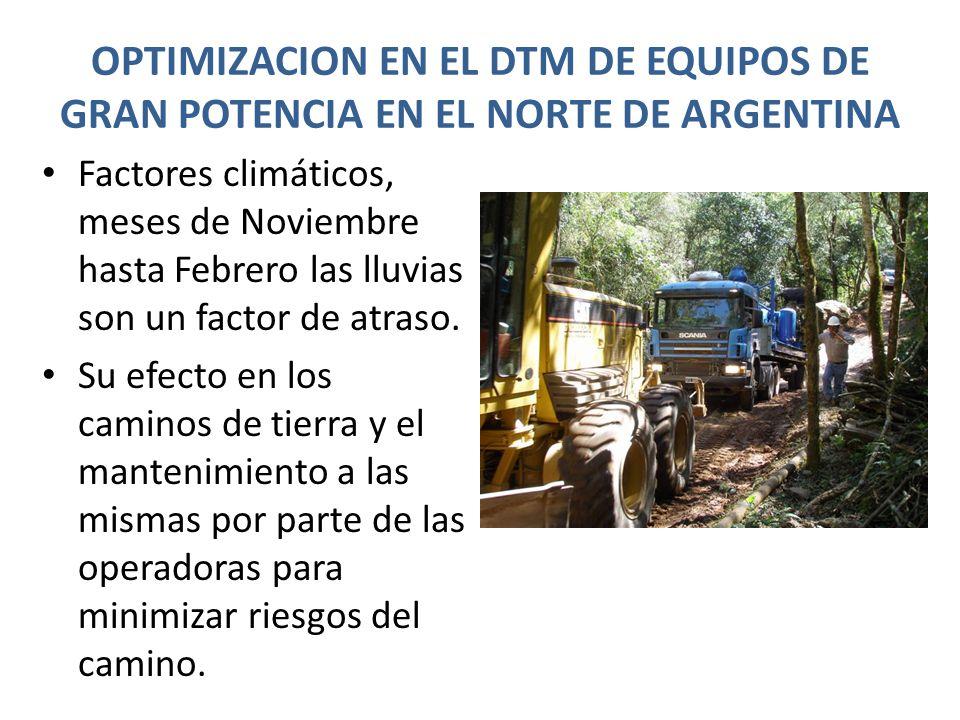 OPTIMIZACION EN EL DTM DE EQUIPOS DE GRAN POTENCIA EN EL NORTE DE ARGENTINA Factores climáticos, meses de Noviembre hasta Febrero las lluvias son un factor de atraso.