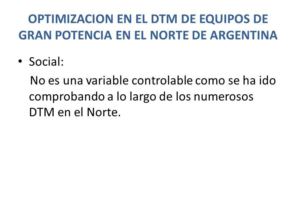 OPTIMIZACION EN EL DTM DE EQUIPOS DE GRAN POTENCIA EN EL NORTE DE ARGENTINA Social: No es una variable controlable como se ha ido comprobando a lo lar
