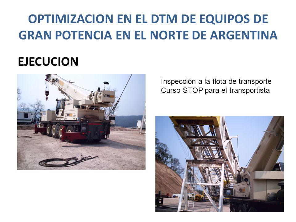 OPTIMIZACION EN EL DTM DE EQUIPOS DE GRAN POTENCIA EN EL NORTE DE ARGENTINA EJECUCION Inspección a la flota de transporte Curso STOP para el transport