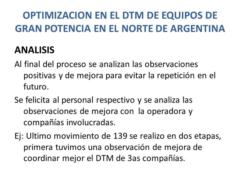 OPTIMIZACION EN EL DTM DE EQUIPOS DE GRAN POTENCIA EN EL NORTE DE ARGENTINA ANALISIS Al final del proceso se analizan las observaciones positivas y de mejora para evitar la repetición en el futuro.