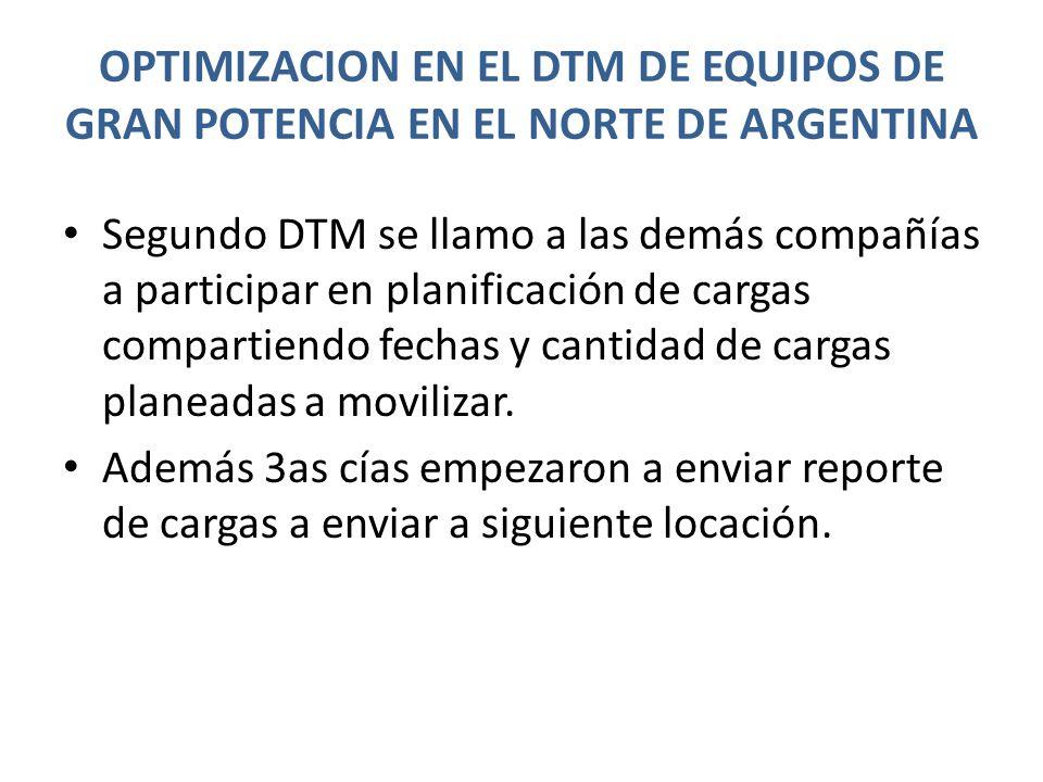 OPTIMIZACION EN EL DTM DE EQUIPOS DE GRAN POTENCIA EN EL NORTE DE ARGENTINA Segundo DTM se llamo a las demás compañías a participar en planificación de cargas compartiendo fechas y cantidad de cargas planeadas a movilizar.