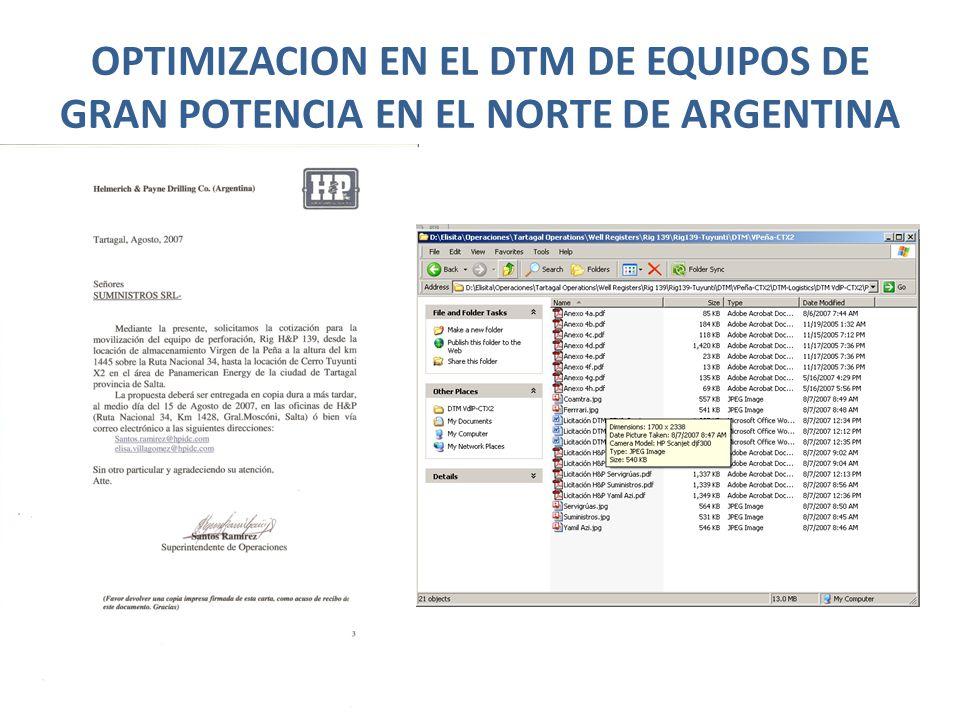 OPTIMIZACION EN EL DTM DE EQUIPOS DE GRAN POTENCIA EN EL NORTE DE ARGENTINA Reporte de compañía de transporte