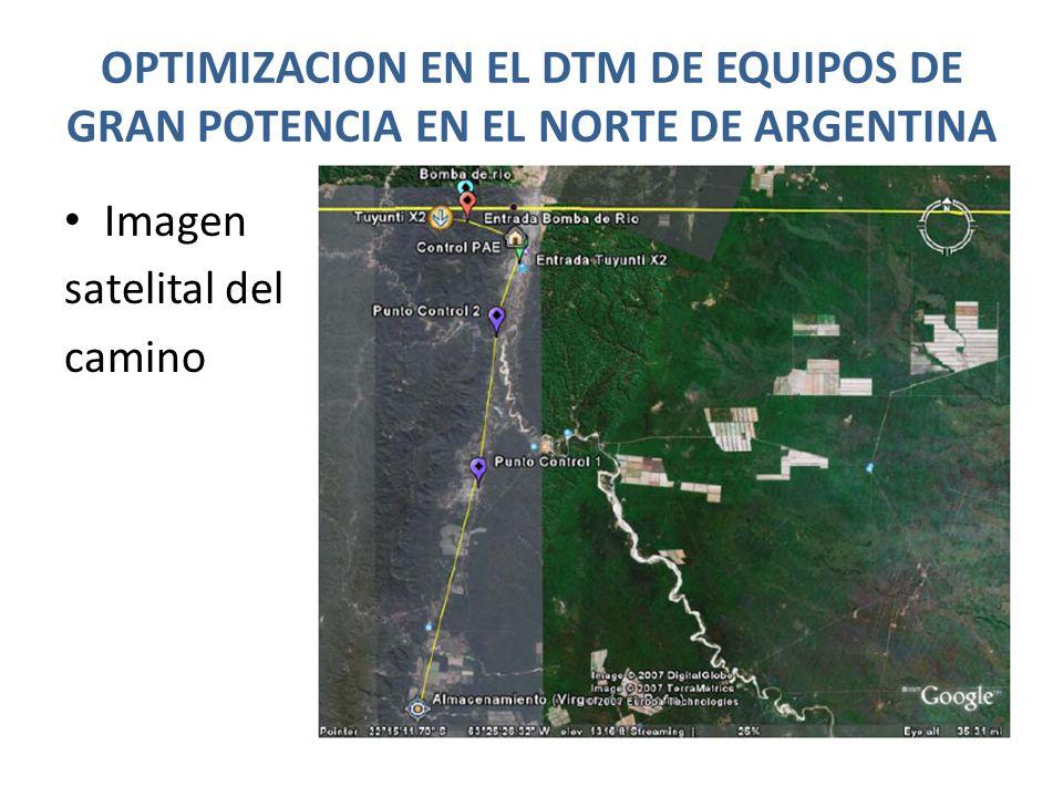 OPTIMIZACION EN EL DTM DE EQUIPOS DE GRAN POTENCIA EN EL NORTE DE ARGENTINA Imagen satelital del camino