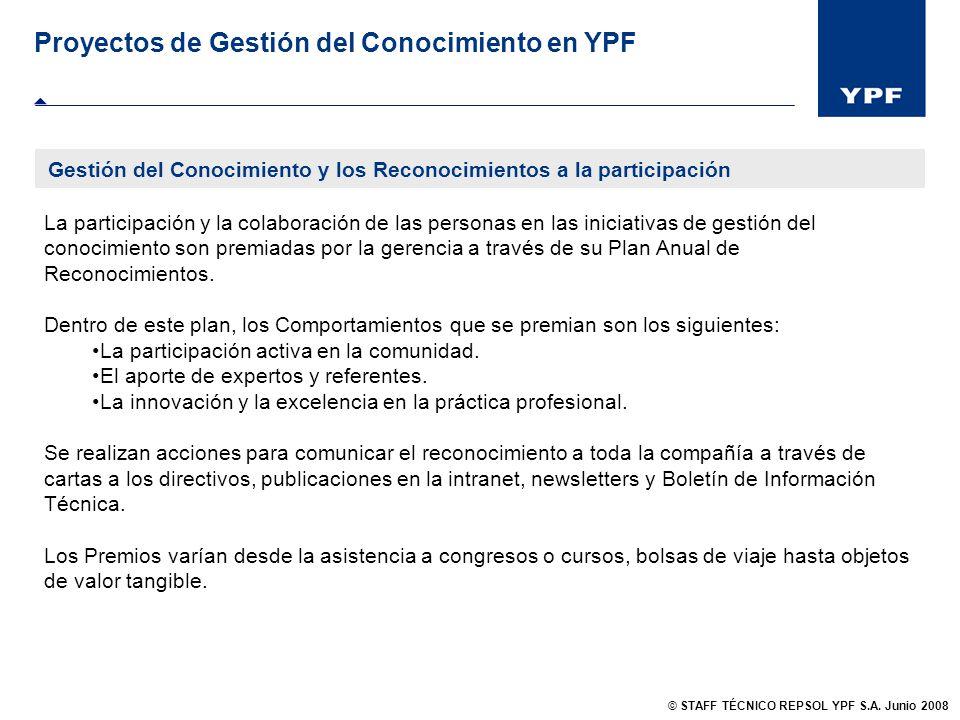 Gestión del Conocimiento y los Reconocimientos a la participación Proyectos de Gestión del Conocimiento en YPF La participación y la colaboración de l
