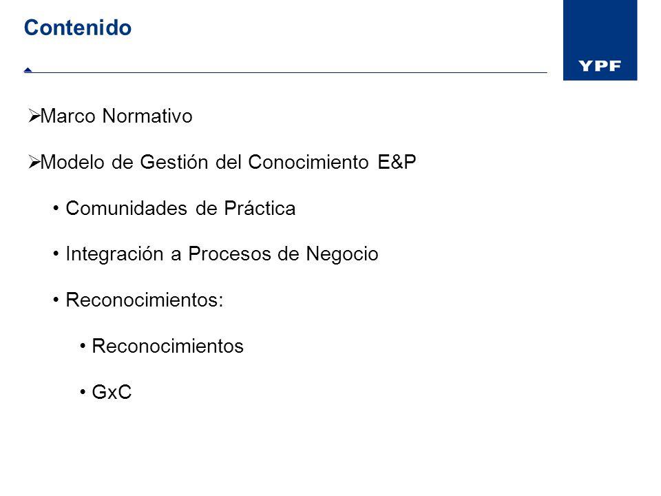 Contenido Marco Normativo Modelo de Gestión del Conocimiento E&P Comunidades de Práctica Integración a Procesos de Negocio Reconocimientos: Reconocimi