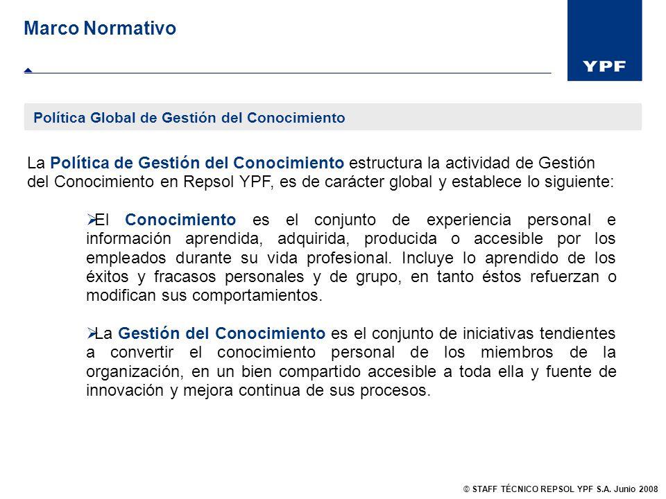 La Política de Gestión del Conocimiento estructura la actividad de Gestión del Conocimiento en Repsol YPF, es de carácter global y establece lo siguie
