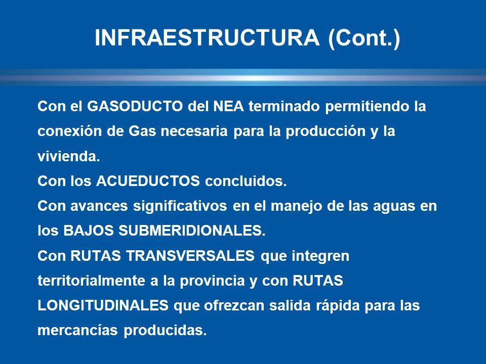 Con el GASODUCTO del NEA terminado permitiendo la conexión de Gas necesaria para la producción y la vivienda.