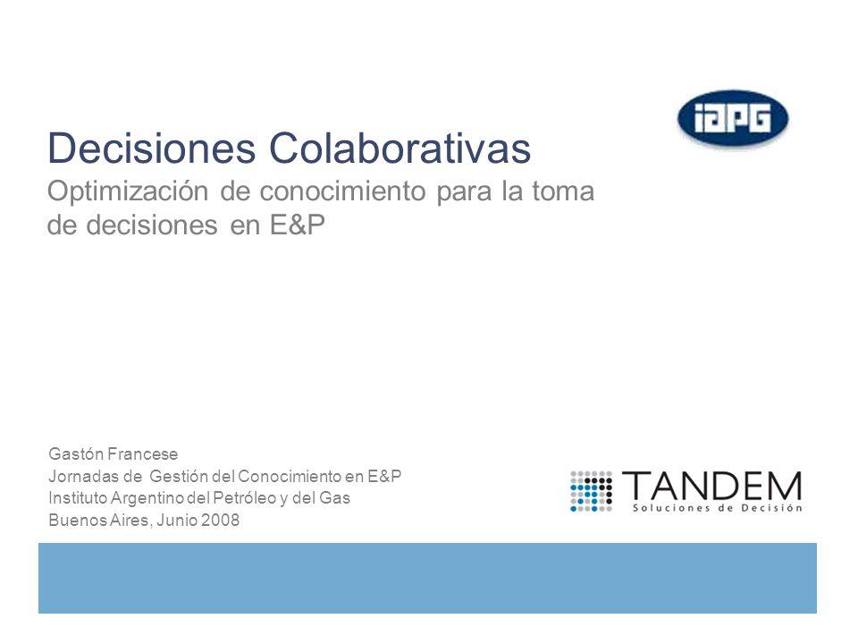 Gastón Francese Jornadas de Gestión del Conocimiento en E&P Instituto Argentino del Petróleo y del Gas Buenos Aires, Junio 2008 Decisiones Colaborativ