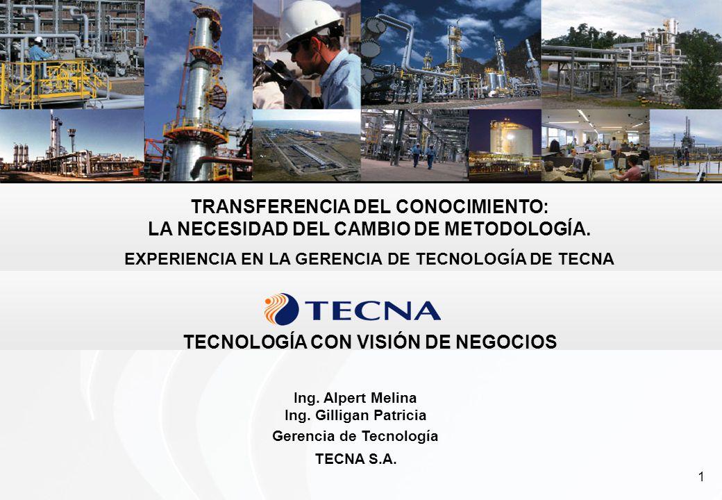 1 TRANSFERENCIA DEL CONOCIMIENTO: LA NECESIDAD DEL CAMBIO DE METODOLOGÍA. EXPERIENCIA EN LA GERENCIA DE TECNOLOGÍA DE TECNA Ing. Alpert Melina Ing. Gi