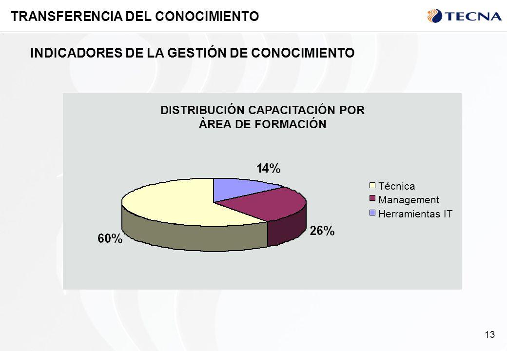 13 TRANSFERENCIA DEL CONOCIMIENTO INDICADORES DE LA GESTIÓN DE CONOCIMIENTO DISTRIBUCIÓN CAPACITACIÓN POR ÀREA DE FORMACIÓN Herramientas IT Management