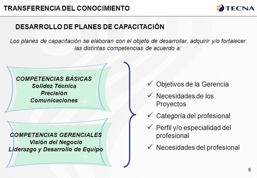 6 TRANSFERENCIA DEL CONOCIMIENTO Los planes de capacitación se elaboran con el objeto de desarrollar, adquirir y/o fortalecer las distintas competenci