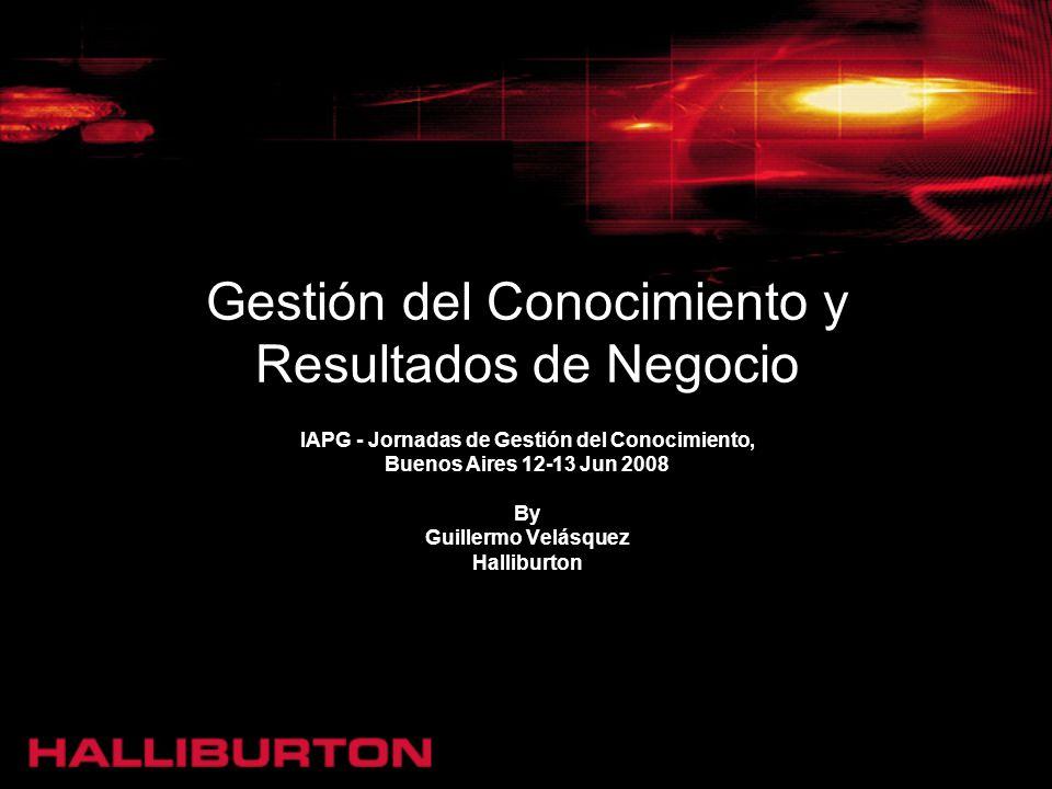 Gestión del Conocimiento y Resultados de Negocio IAPG - Jornadas de Gestión del Conocimiento, Buenos Aires 12-13 Jun 2008 By Guillermo Velásquez Halli