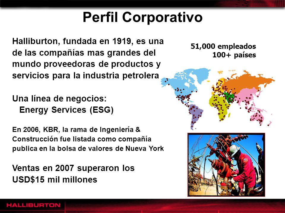 Perfil Corporativo Halliburton, fundada en 1919, es una de las compañías mas grandes del mundo proveedoras de productos y servicios para la industria