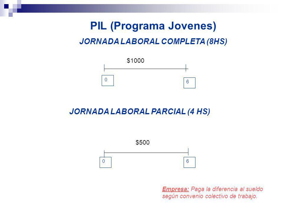 PIL (Programa Jovenes) JORNADA LABORAL COMPLETA (8HS) 6 JORNADA LABORAL PARCIAL (4 HS) Empresa: Paga la diferencia al sueldo según convenio colectivo de trabajo.