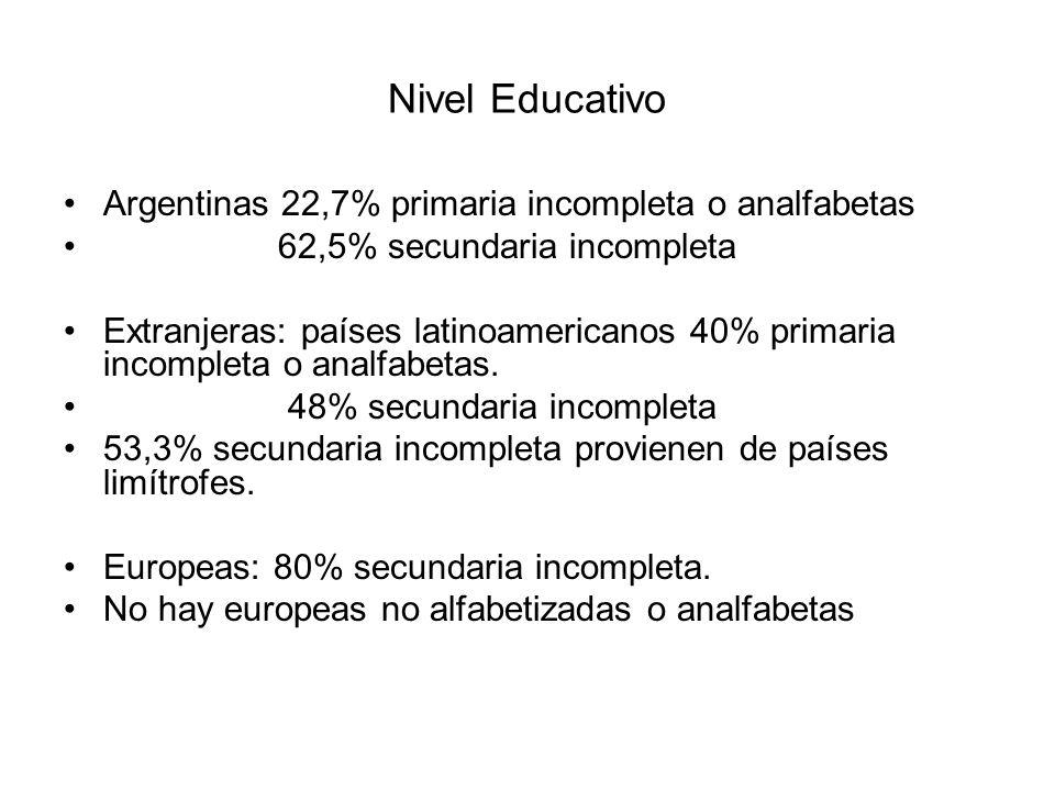 Nivel Educativo Argentinas 22,7% primaria incompleta o analfabetas 62,5% secundaria incompleta Extranjeras: países latinoamericanos 40% primaria incom