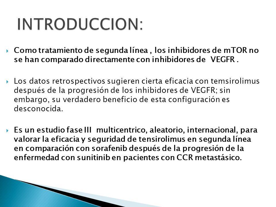 Pacientes: Confirmación histológica CCR con documentación de progresión de la enfermedad por los criterios RECIST mientras recibe sunitinib primera línea.