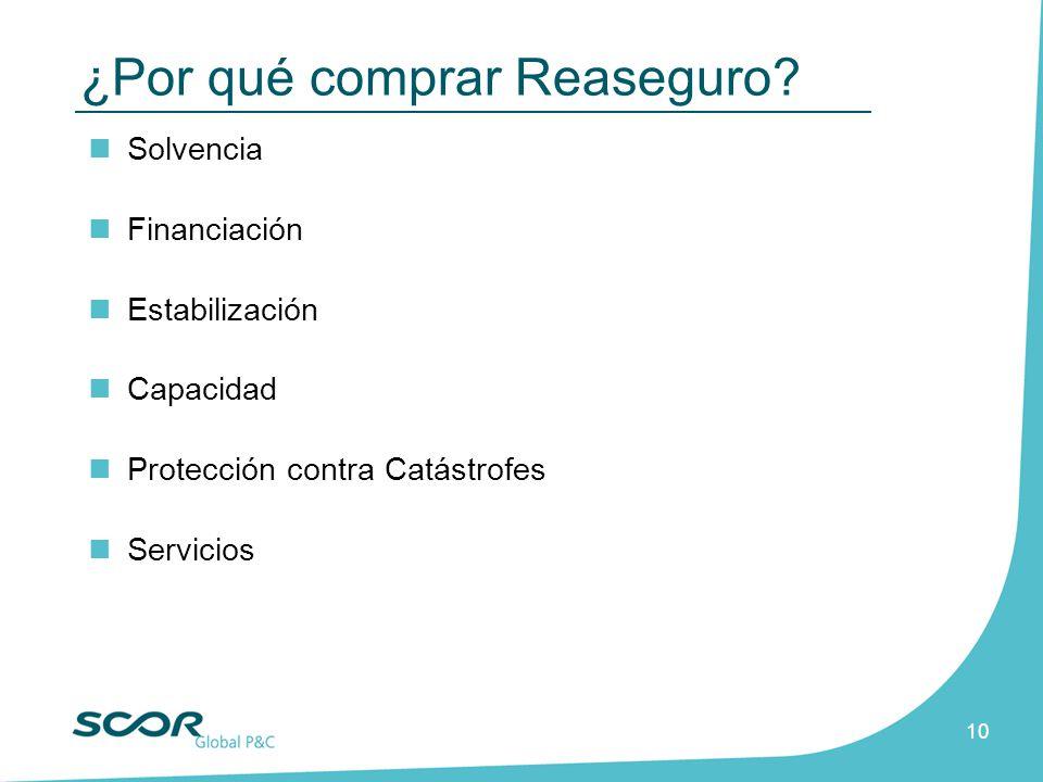 10 Solvencia Financiación Estabilización Capacidad Protección contra Catástrofes Servicios ¿Por qué comprar Reaseguro?