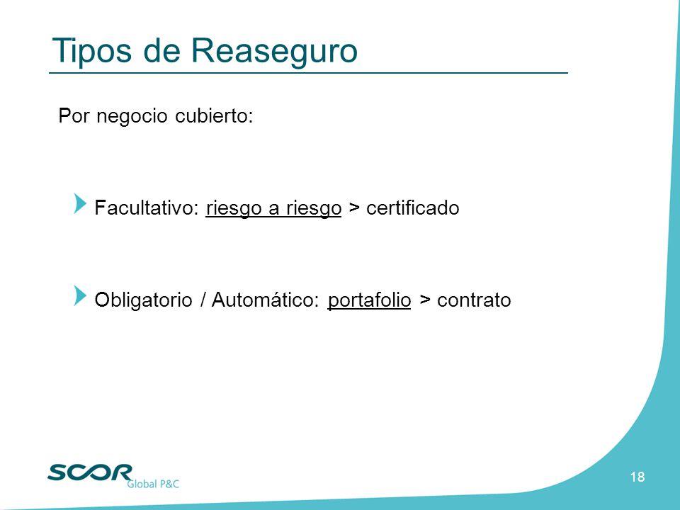 18 Por negocio cubierto: Facultativo: riesgo a riesgo > certificado Obligatorio / Automático: portafolio > contrato Tipos de Reaseguro